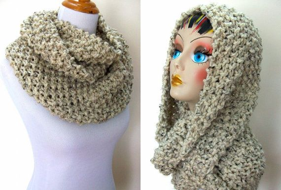 Knit Popcorn Stitch Infinity Scarf Pattern : Chunky Knit Cowl Infinity Style Popcorn Stitch Oatmeal Tweed Color Ch?