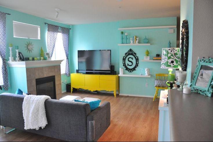Miscellaneous Benjamin Moore Bermuda Teal Living Room Grey Sofa White Wa