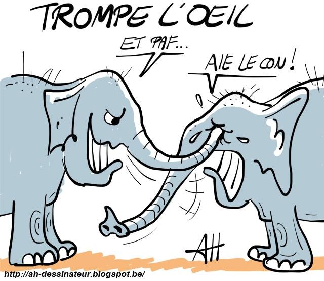 Trompe l 39 oeil l phant dessin de ah dessins de presse pinterest - Dessin elephant ...