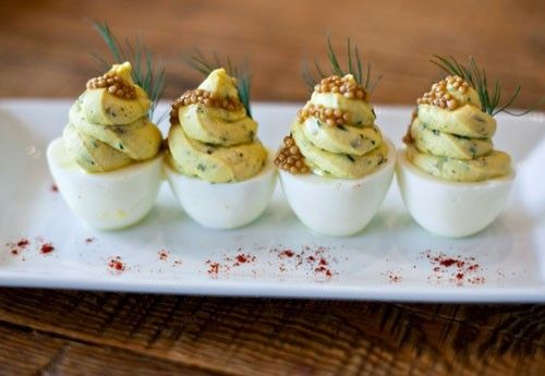 "Deviled Eggs (fresh dill, ""redneck caviar"" and smoked trout roe)"