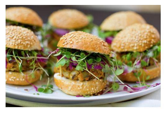 Black-eyed pea, sweet potato veggie burger sliders.
