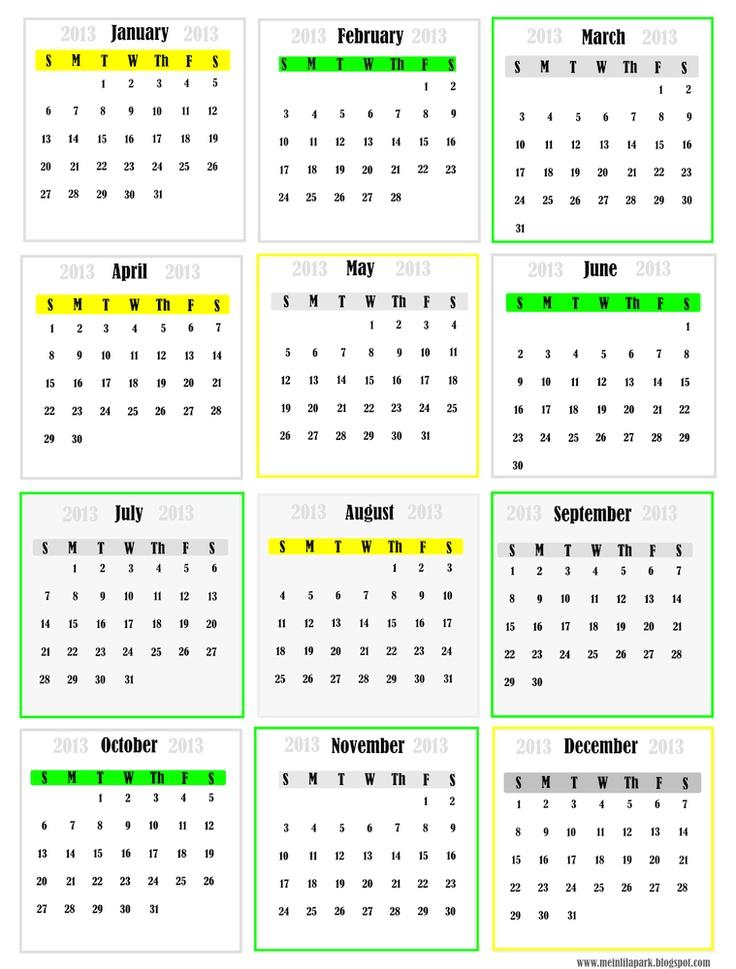 FREE printable 2013 calendar - monthly mini cards #calendar #2013 # ...