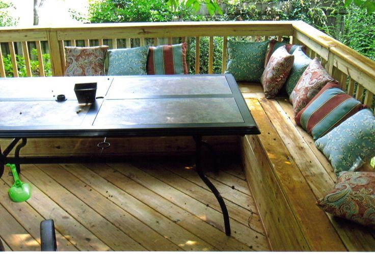 Deck with seating garden pinterest for Garden decking seating