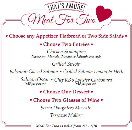 valentine day restaurant specials utah