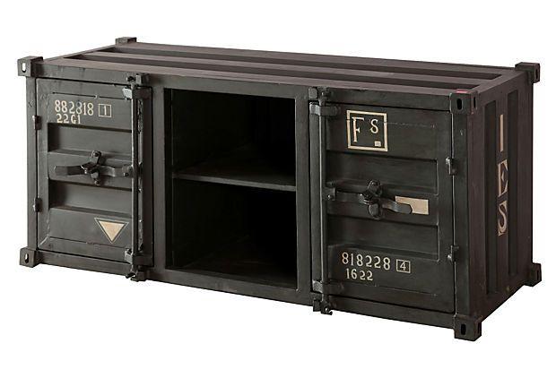 benjamin industrial tv cabinet. Black Bedroom Furniture Sets. Home Design Ideas