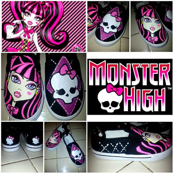 Custom Painted Monster High Shoes Draculaura on Etsy, $40.00