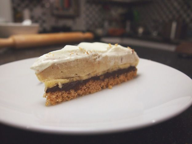 Banana Cream Pie with Dark Chocolate Ganache & Vanilla Custard