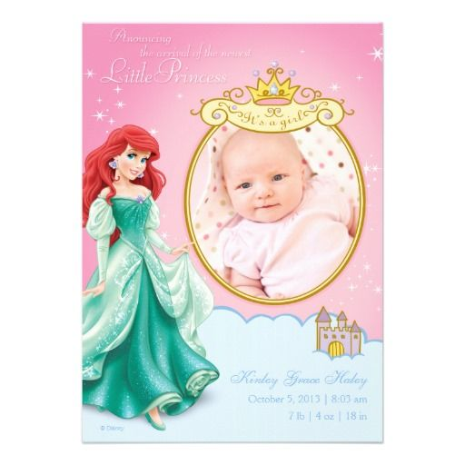 disney princess ariel birth announcement baby shower invitations