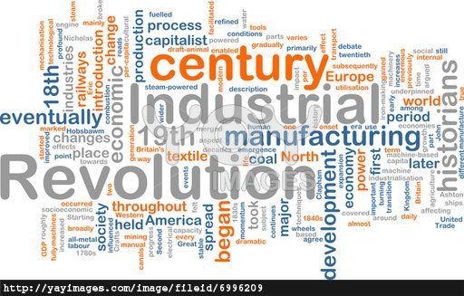 Word cloud concept illustration of industrial revolution