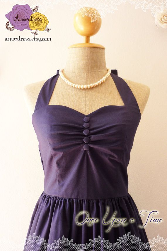 Vintage inspired dress navy party dress classic bridesmaid dress once