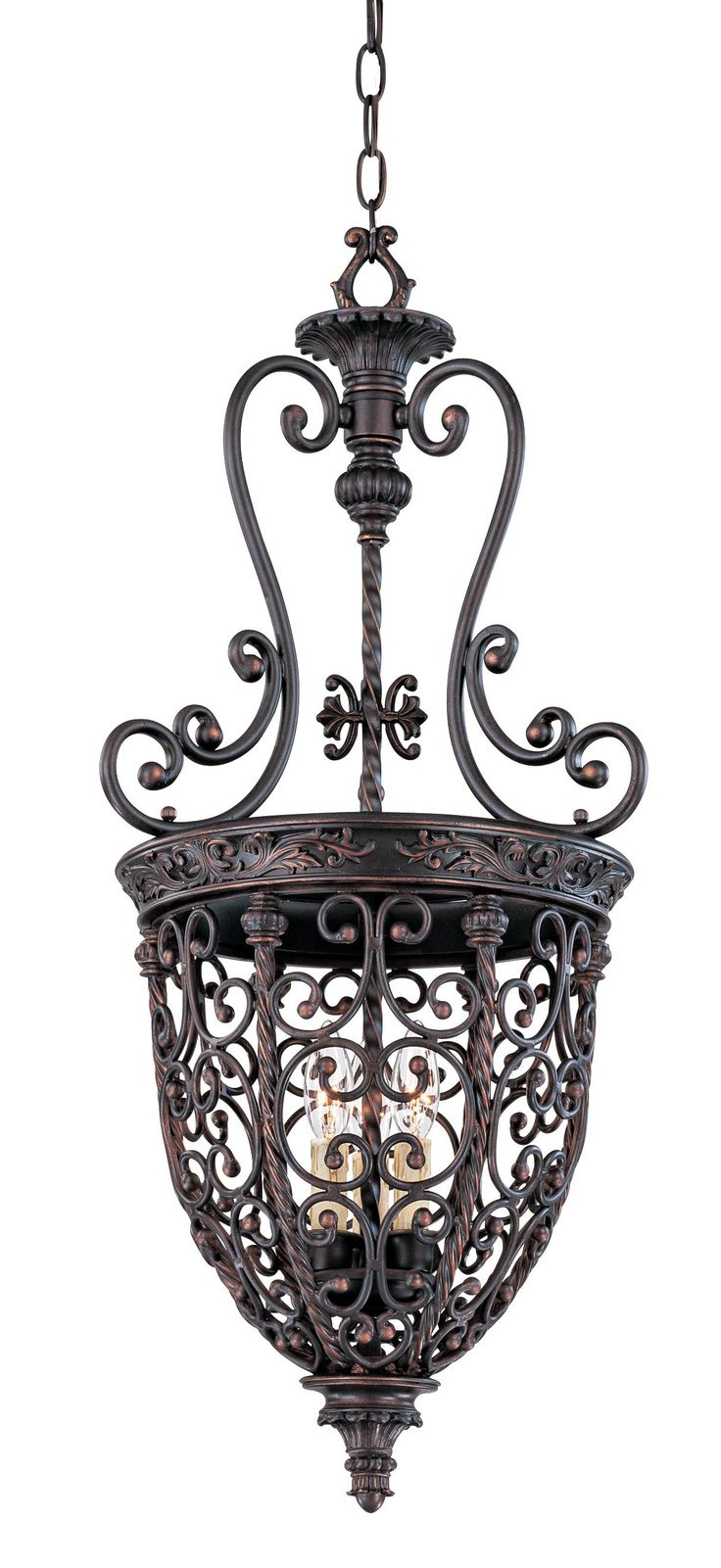 Foyer Caged Chandelier : Open scroll cage rubbed bronze finish foyer chandelier
