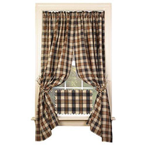 New Primitive Country 63 Chestnut Ridge Black Tan Rust Curtain Windo