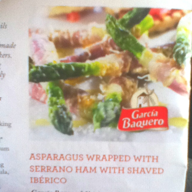 ... tonight !! Asparagus wrapped with serrano ham with shaved iberico