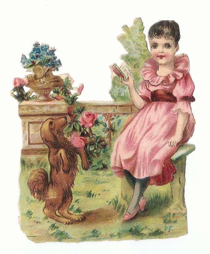La Fillette et le petit chien - Livre Robe - Chromo Decoupi  -  Victorian Scrap