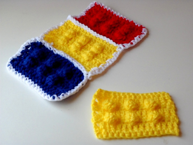 Crochet Lego Blocks using the Bobble Stitch