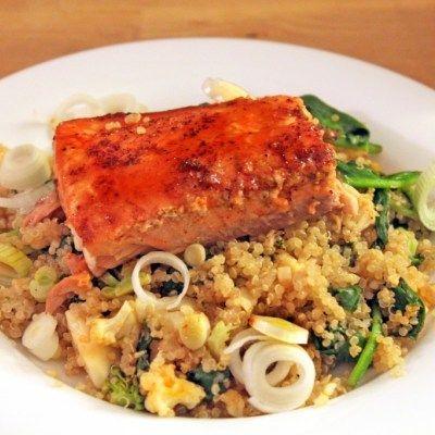 Honey Glazed Salmon with Broccoli & Cauliflower Quinoa | Little ...