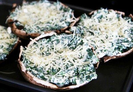 portabella, spinach, feta & parmesan | Recipes | Pinterest