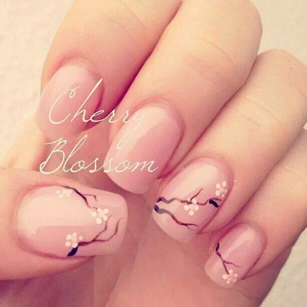 Easy cherry blossom nail art for short nails blossom nails cute cherry blossom nail art jpg on acrylic powder view images prinsesfo Gallery