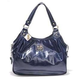 Coach navy blue leather shoulder bag
