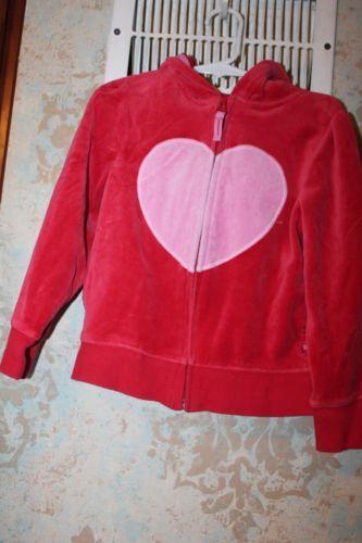 Baby gap girls velour red hoodie jacket valentines day heart 5t ebay
