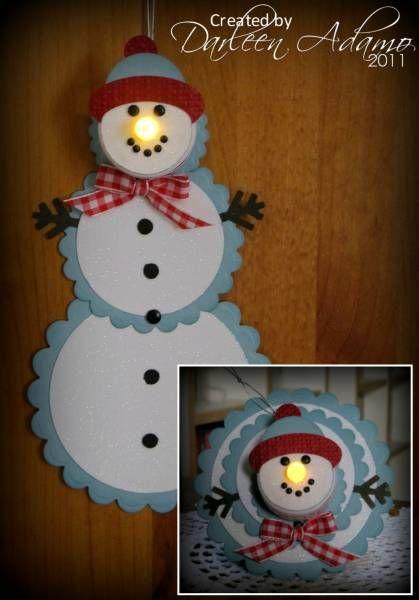 snowman tea light telescoping card