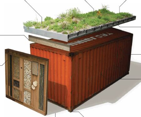 Green roof shipping container put a roof on it pinterest for Habitat container