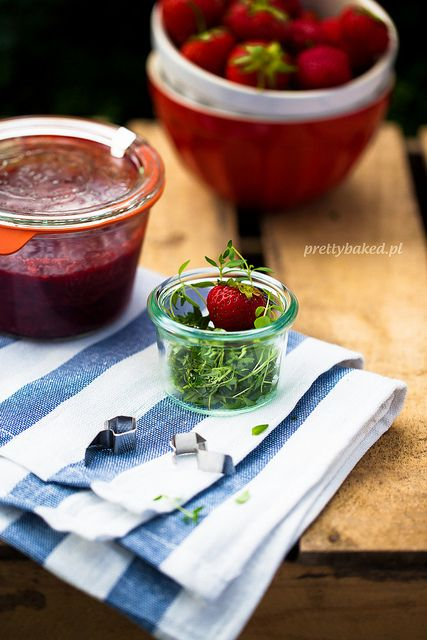 Strawberry thyme jam / http://prettybaked.pl / http://facebook.com ...