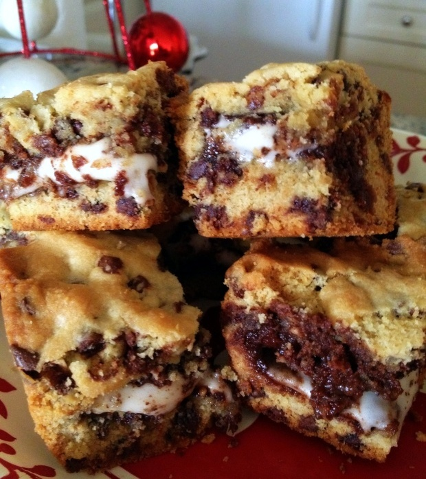 Peppermint Patty Chocolate Chip Cookie Bars.