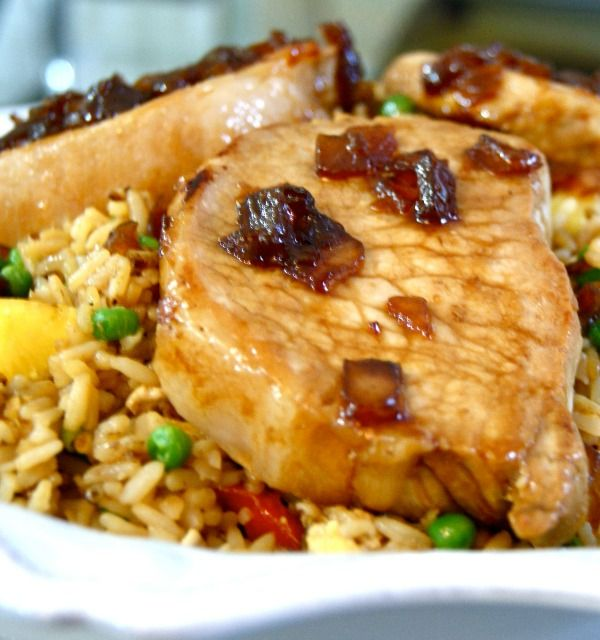 Recipe for Sweet Soy Glazed Pork Chops with Pineapple Fried Rice