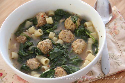Slow Cooker Italian Sausage Meatball Soup - bakedbyrachel.com
