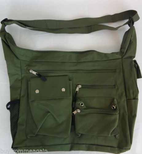 Canvas Green Handbag Bag Shoulder Women 13 Pockets NWT