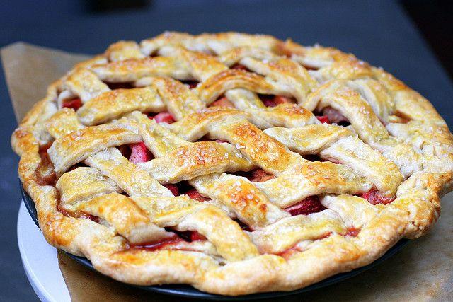 Lattice-Topped Strawberry-Rhubarb Pie | Recipe