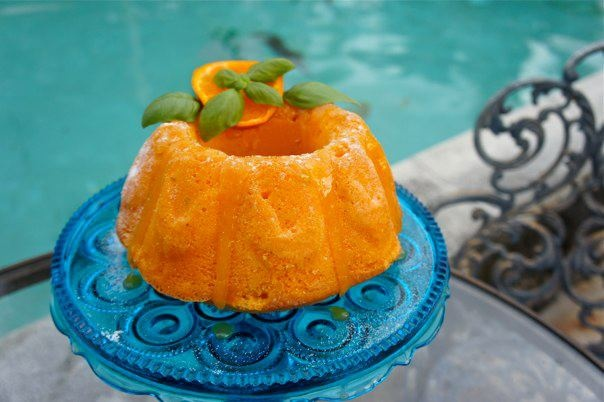 """Homemade """"Screwdriver Cake"""" with fresh basil and rosemary, and topp..."""