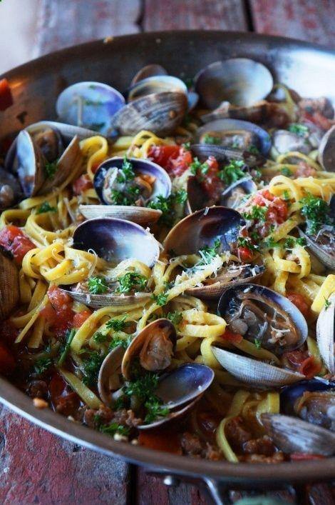Linguine with Clams and Chorizo | Yum | Pinterest