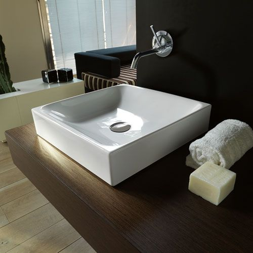 Counter Top Sink : Kerasan White Bathroom Countertop Sink Only Ws Bath Collections Vesse ...