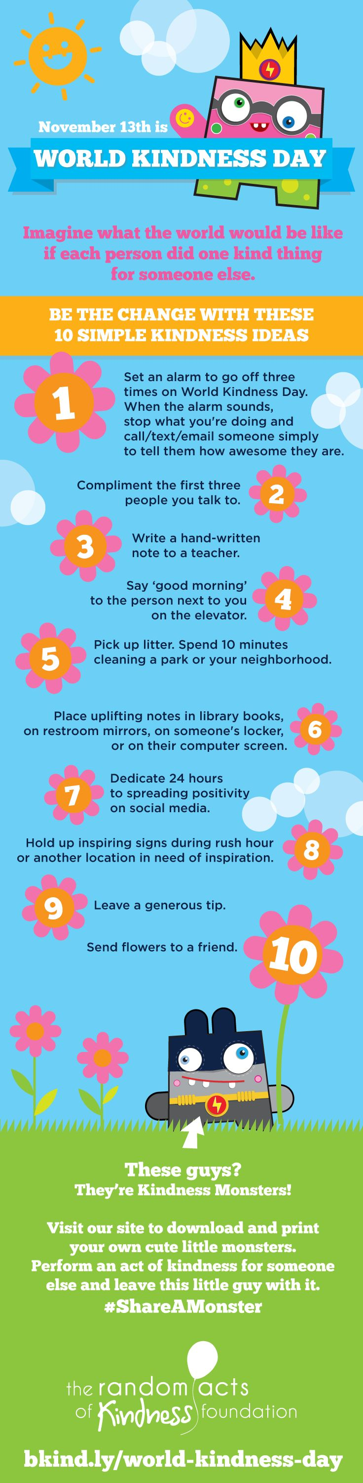 10 Simple Kindness Ideas for World Kindness Day, November 13. #WorldKindnessDay #ShareAMonster