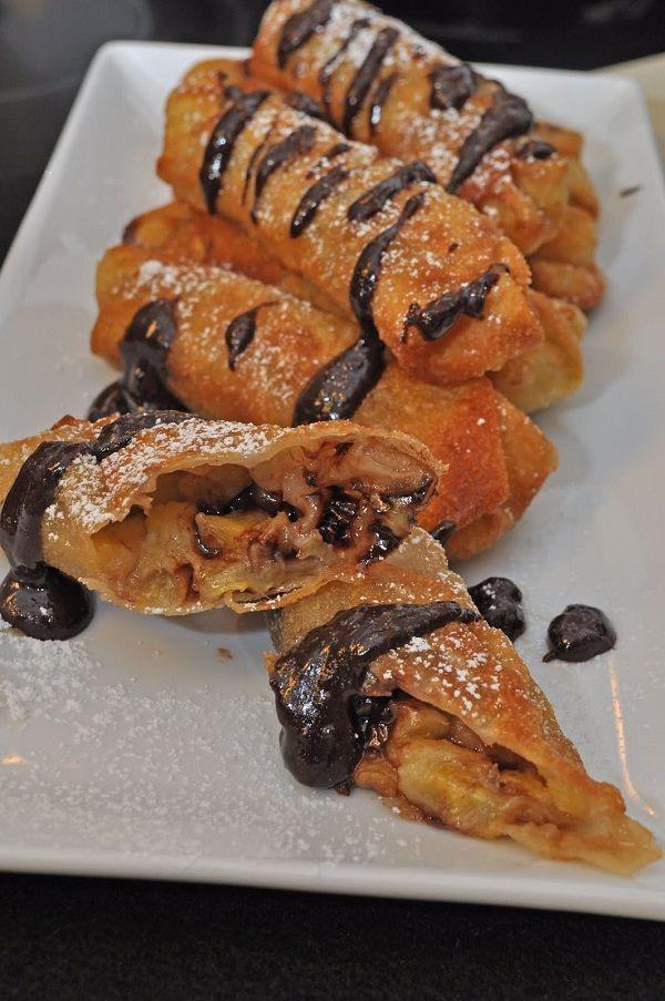 Sweet Chocolate and Banana Spring Rolls | dessert recipes | Pinterest