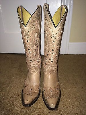 Amazing Details About Frye 7 B Womens Cowboy Boots Heels Brown Leather Western