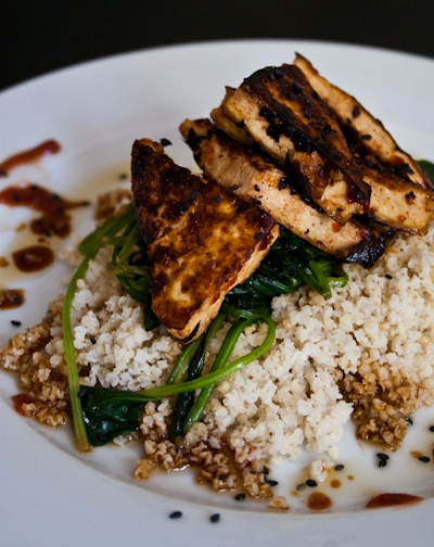 Spicy Thai tofu with sauteed greens and barley. Sauce for tofu: agave ...