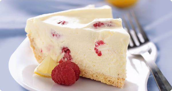 Lemon & Raspberry Mousse Pie made with lemon bar mix, heavy whipping ...