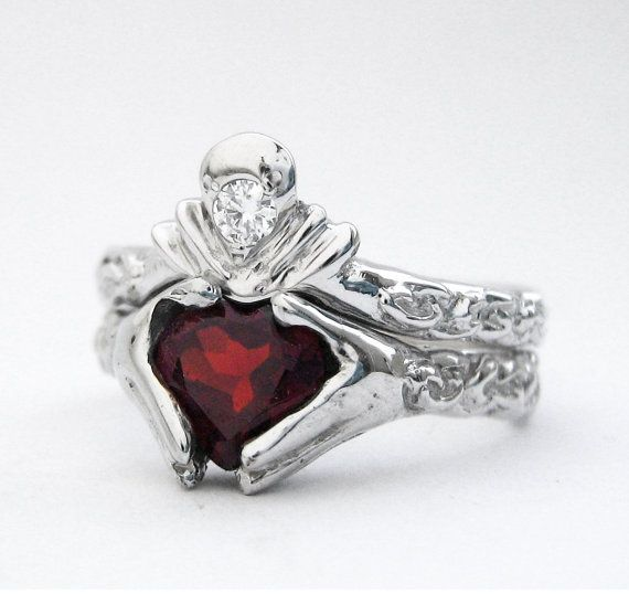 Claddagh Engagement And Wedding Ring Set White Gold And Diamond Ge