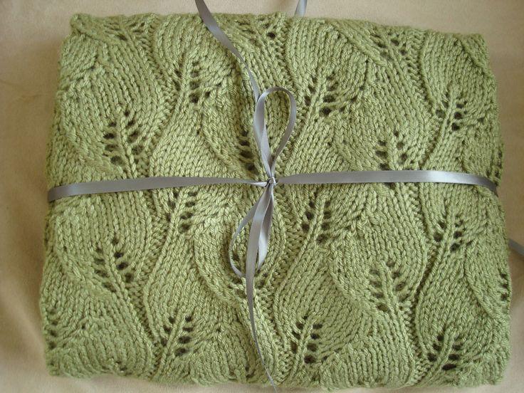 Knitting Pattern Leaf Baby Blanket : Custom listing for Anne- Two Dusty Green Leaf Hand Knit ...
