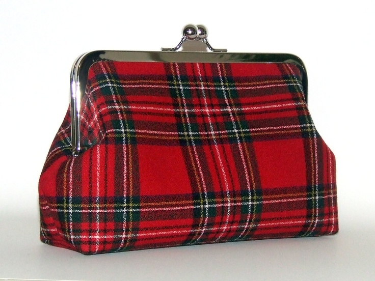Royal Stewart Red Tartan Plaid Wool Clutch.