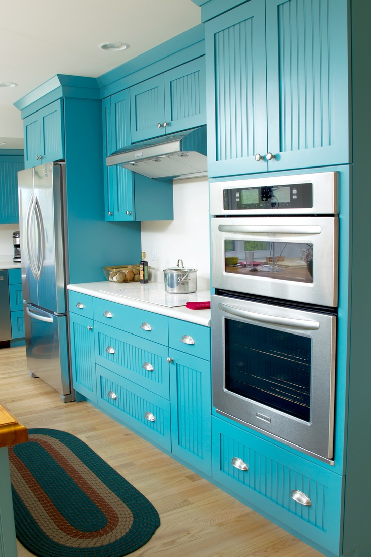 Teal Blue Contemporary Cottage Kitchen with Dura Supreme Cabinetry by