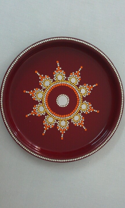 Pooja thali rangoli pinterest for Aarti thali decoration with pulses