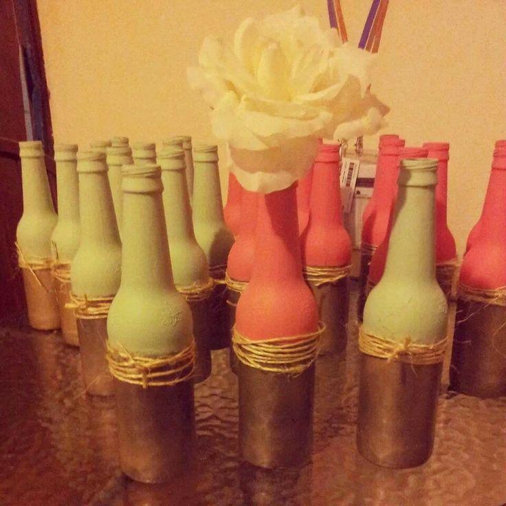 Bottle centerpieces wedding stuff pinterest for Bottle centerpieces