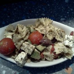 Farfalle Pasta, Feta Cubes, Kalamata Black Olives, Roasted Red Peppers ...