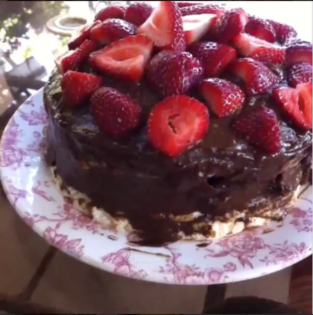 Gluten Free Angel food cake with raw chocolate fudge... This cake ...
