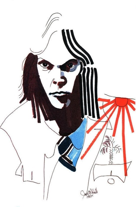 Drawing of Neil Young by Joni Mitchell published in Rolling Stone in 1975