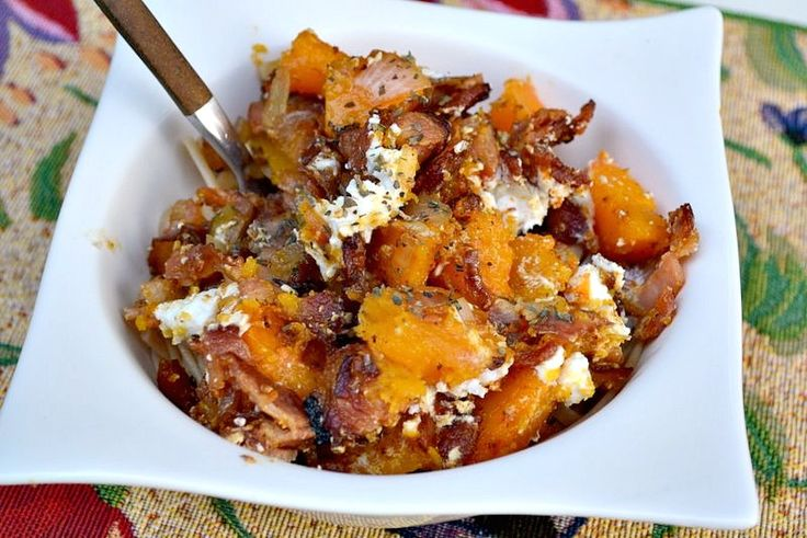 good in the winter. Bacon, roast squash, and goat cheese pasta via ...